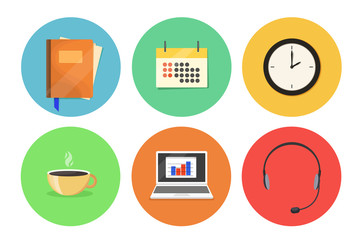 A set of flat icons on the office theme