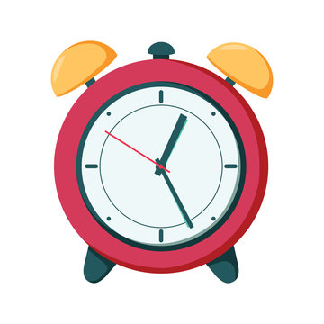Vector clock alarm illustration time symbol, hour watch.