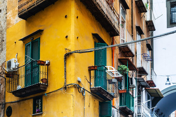 Antique building view in Old Town Naples, italy Europe