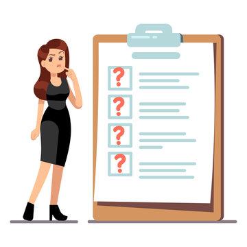 Cartoon young standing woman thinking about time management. Businesswoman have problems with her to do list. Illustration of thinking trouble, checklist with question marks