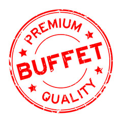 Grunge red premium quality buffet round rubber seal stamp on white background