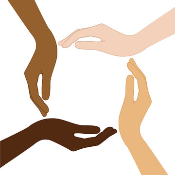 human hands with different skin color tolerance and anti racism concept