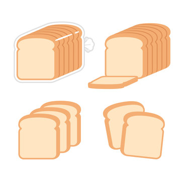 Sliced white bread illustration set