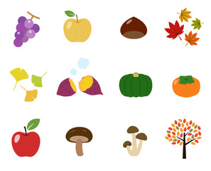 秋の味覚|イラストアイコンセット