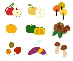 秋の味覚|イラスト アイコンセット