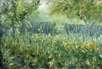 Green garden in the summer - Painting modern expressionism oil and palette knife on the canvas impasto fine art.