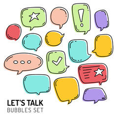 Speech Bubble Talk Traditional Doodle Icons