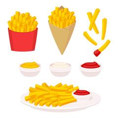 Fototapeta French fries illustration set obraz