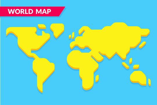 Simple cartoon style world map
