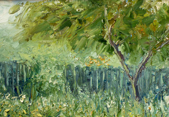 fragment of oil painting and palette knife close-up impressionism illustration - Summer green spring trees and foliage fine art