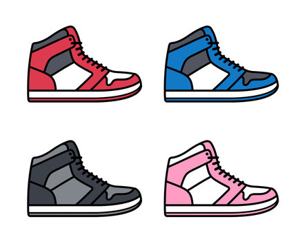 High top sneakers set
