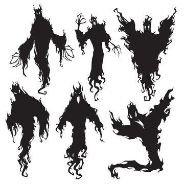 Evil spirit silhouette. Halloween dark night devil, nightmare demon or ghost silhouettes. Flying metaphysical vector illustration