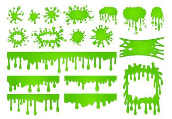 Cartoon liquid slime. Green goo paint drops, spooky splash border and scary halloween stain vector set