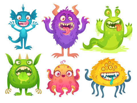 Cartoon monster mascot. Halloween funny monsters, bizarre gremlin with horn and furry creations. Cartoons character vector illustration