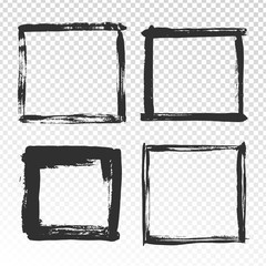 Brush strokes frame. Black grunge square borders, paint brushes photo frames and hand drawn antique edges texture isolated vector set