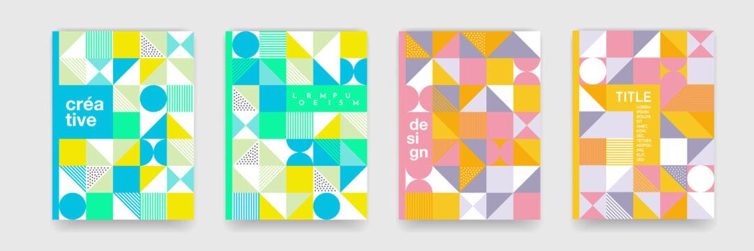 Triangle geometric pattern b ackground texture for poster cover design. Minimal flat color vector banner template with circles, square