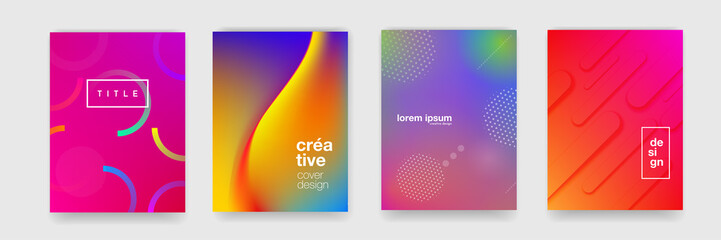 Abstract gradient flowing geometric pattern background texture for poster cover design. Minimal color gradient banner template. Modern vector wave shape for brichure