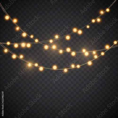 Christmas Lights Vector Free.Yellow Christmas Lights Vector Garland Illustration Stock
