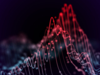 Big data abstract visualization: business charts analytics. 3D Sound waves. Digital surface with flowing curves. Futuristic technology background. Sound waves with dots, EPS 10 vector illustration.