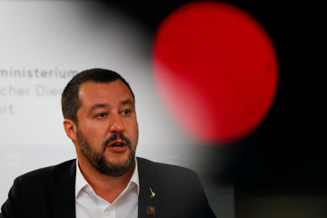 Italian Deputy Prime Minister Matteo Salvini speaks during a joint news conference with Austrian Vice Chancellor Heinz-Christian Strache in Vienna