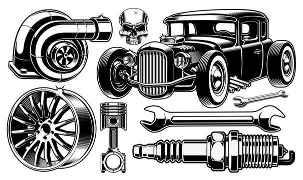 Design elements of car repair.