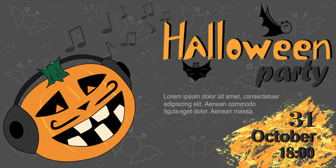 Halloween party. Vector background, banner, invitation. Invitation design, banner for Halloween party. Illustration of a cartoon pumpkin.