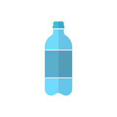 Water bottle icon in flat style. Plastic soda bottle vector illustration on white isolated background. Liquid water business concept.