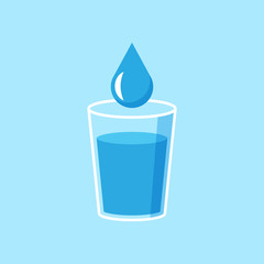 Water glass icon in flat style. Soda glass vector illustration on white isolated background. Liquid water business concept.