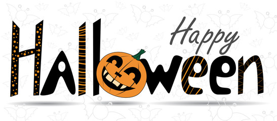 Happy Halloween. Lettering, calligraphy. Vector congratulatory poster. T-shirt design, T-shirt print.
