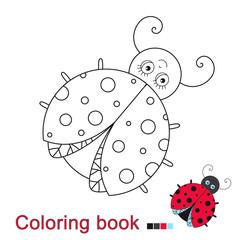 illustratiol of funny ladybug for coloring book for children