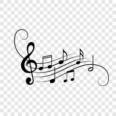 Music notes staff icons vector background