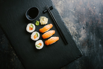 Printed roller blinds Sushi bar Sushi served on plate on dark table