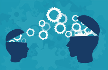 Vector of two head silhouette of adult person and a child sharing knowledge, ideas