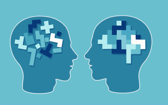 Vector concept of a puzzle head brain neurology and psychology.