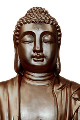 Buddha statue isolated against white background.