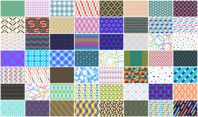 Mega collection of Colorful seamless geometric pattern. Isolated on White background