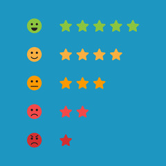 Autocollant pour porte Cosmos Star feedback vector, five star, good and bad review vector illustration