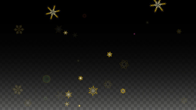 Christmas  Vector Background with Gold Falling Snowflakes Isolated on Transparent Background. Realistic Snow Sparkle Pattern. Snowfall Overlay Print. Winter Sky. Design for Party Invitation.