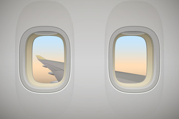 Airplane window, aircraft window with wing, vector background