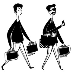shopping mans in black and white