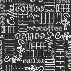 Seamless pattern of coffee words. White chalk on a black board. Chaotically scattered words of different fonts.