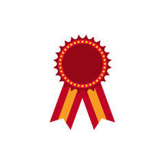 Icon medals in red with stars on the circumference and two-color ribbon