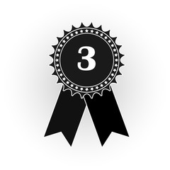 Medal icon with the number three, flat black and white image