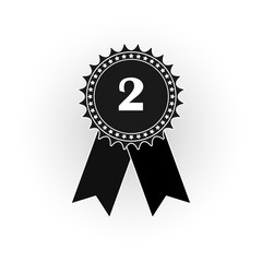 Black and white icon medal with the numeral two, a flat image