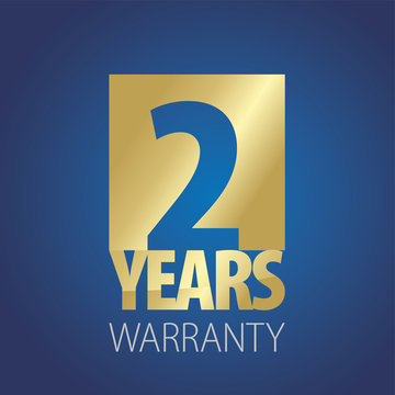 2 Years Warranty gold blue logo icon button stamp vector
