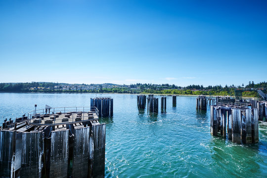 Breasting dolphins (pilings) for Washington State ferries at Anacortes dock