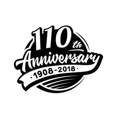 110 years anniversary design template. Vector and illustration. 110th logo.