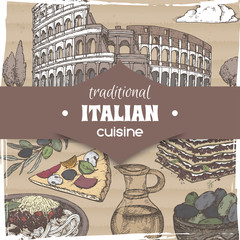 Vintage template with Rome landscape and color Italian cuisine dishes.