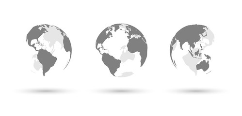 Earth globes set on white background with shadows