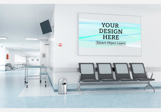 Framed Print in Hospital Waiting Room Mockup